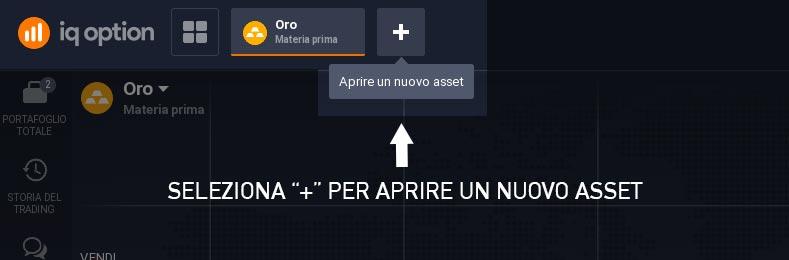 """Clicca """"+"""" e apri un nuovo Asset"""