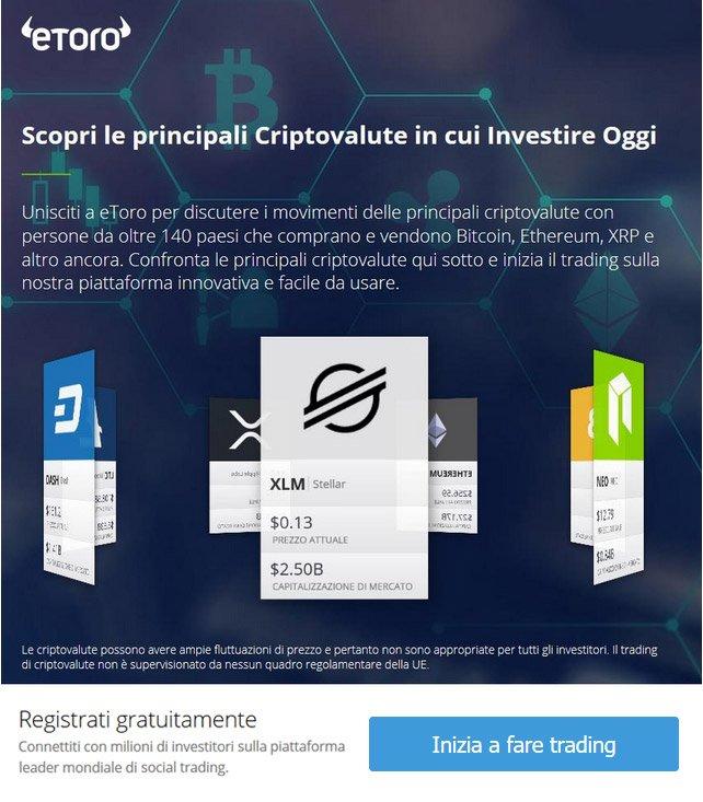 Investi in Criptomonete con eToro