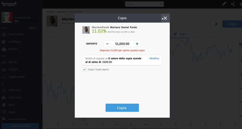 eToro Copia trader