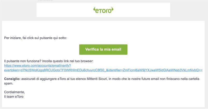 eToro Verifica email