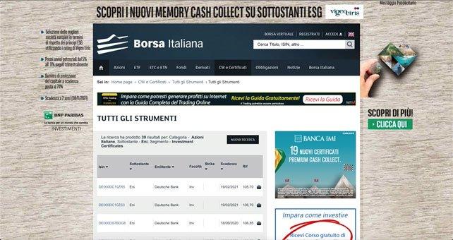 Borsa italiana Strumenti
