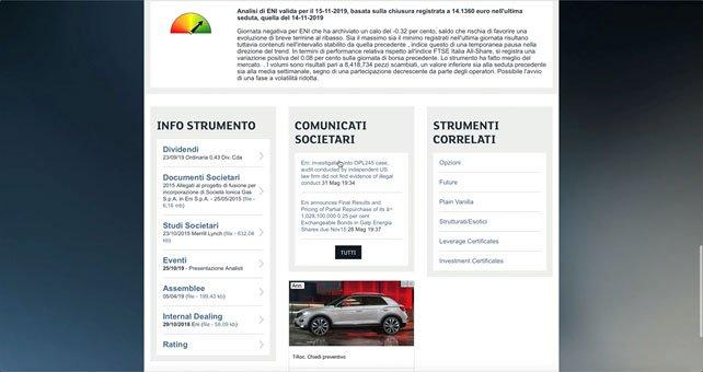 Borsa italiana Titolo ENI