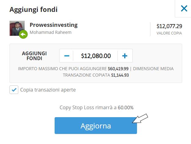 etoro broker aggiungi fondi operazione