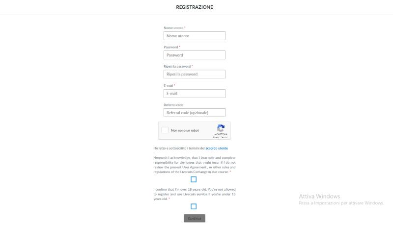 livecoin registrazione